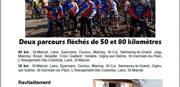 A VOS AGENDAS : BREVET CYCLISTE DU VELO CLUB ST MARCEL LE SAMEDI 22 FEVRIER 2020