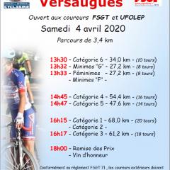 A VOS AGENDAS: PRIX CYCLISTE DE VERSAUGES LE SAMEDI 4 AVRIL 2020