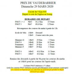 A VOS AGENDAS : PRIX DE VAUDEBARRIER LE DIMANCHE 29 MARS 2020
