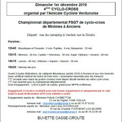 A vos agendas : 4 ème CYCLO-CROSS organisé par l'Amicale Cycliste Verdunoise le 1/12/2019